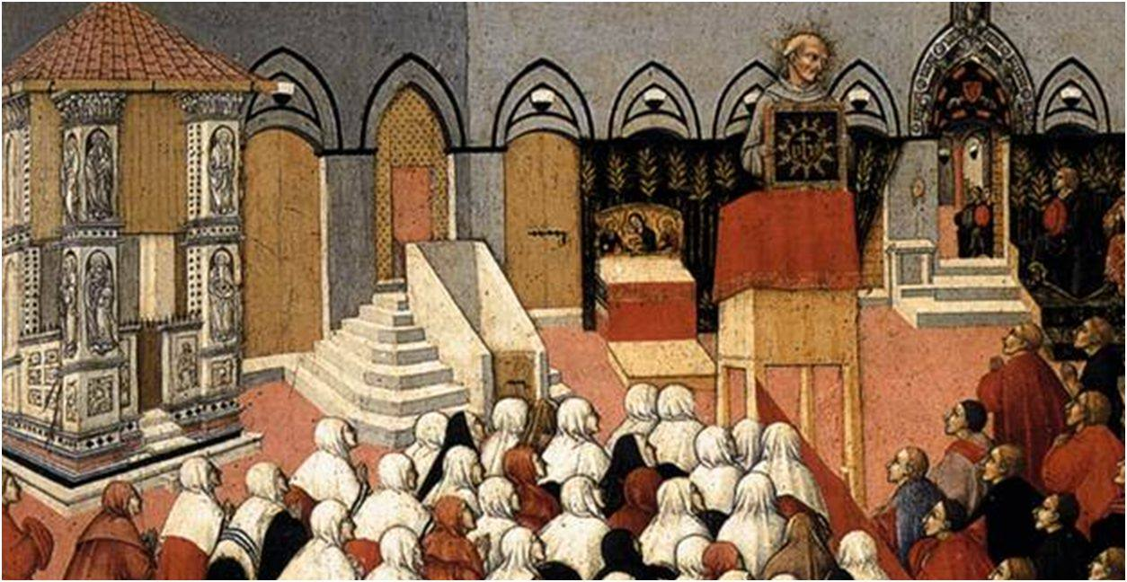 Bernardine preaching in the Campo (town square) of Siena -- painting by Pietro di Sano in 1445, the year after Bernardine's death.