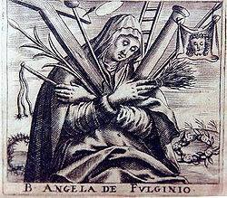 Late medieval woodcut of Angela of Foligno